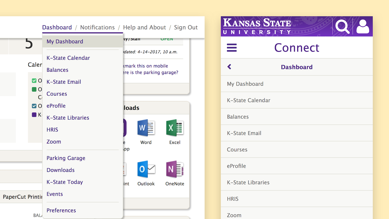 K-State Connect Navigation